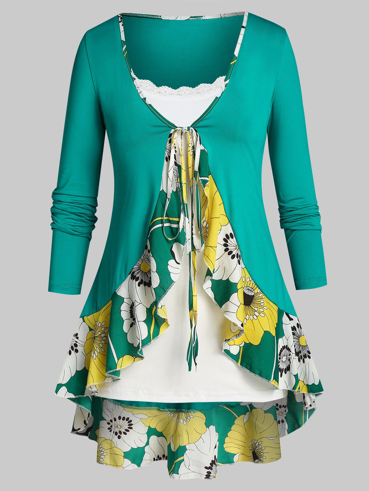 Store Plus Size Flower Flounce Tunic Tie Blouse and Slim Cami Top Set