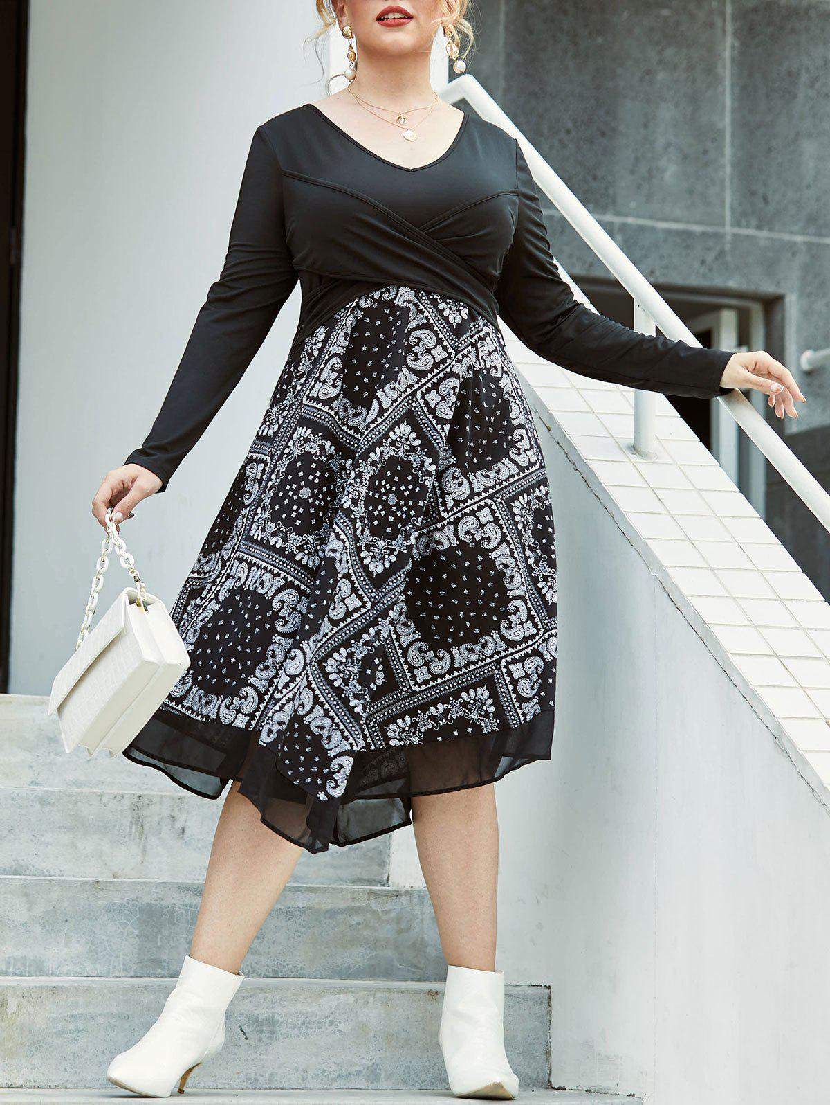 Hot Plus Size Paisley Front Cross A Line Dress
