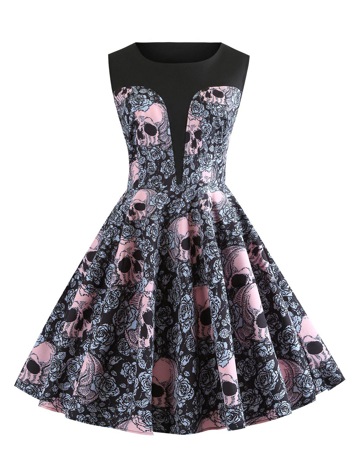 Online Halloween Skulls Flower Printed High Waisted Retro Dress