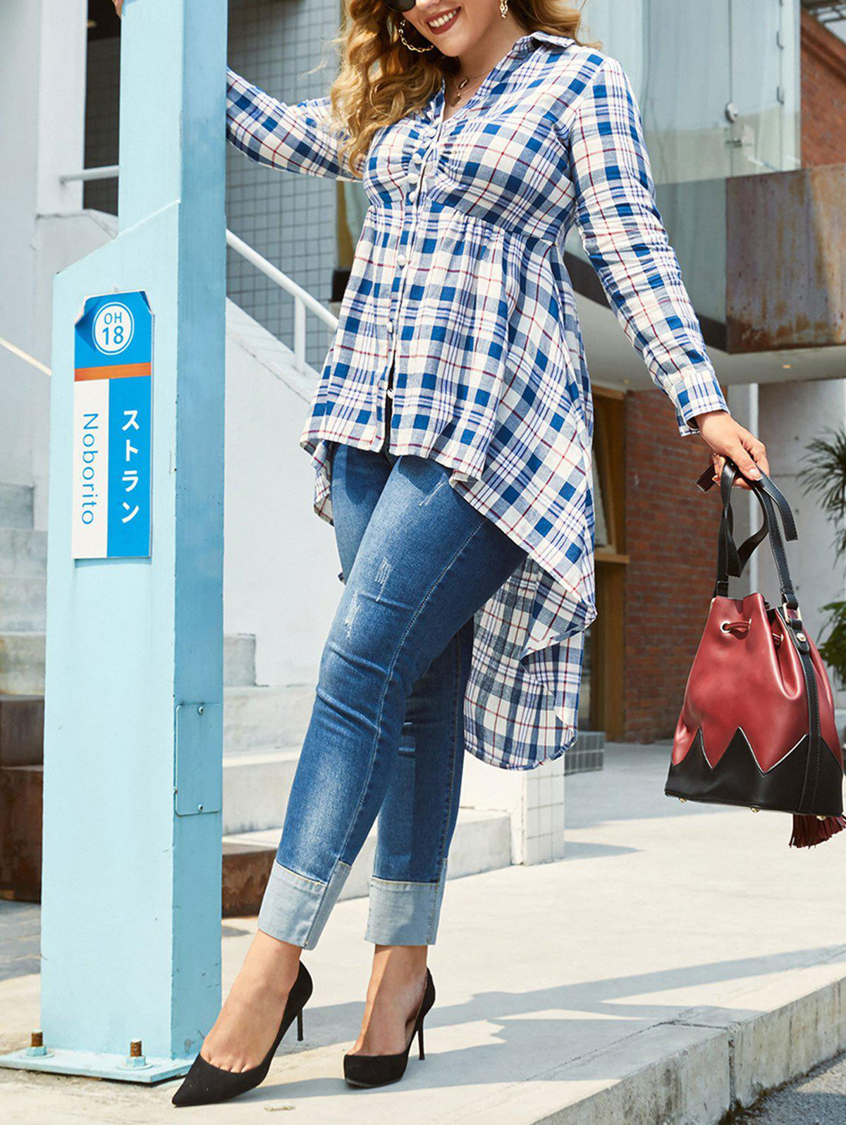 Best Plus Size Checked High Low Blouse