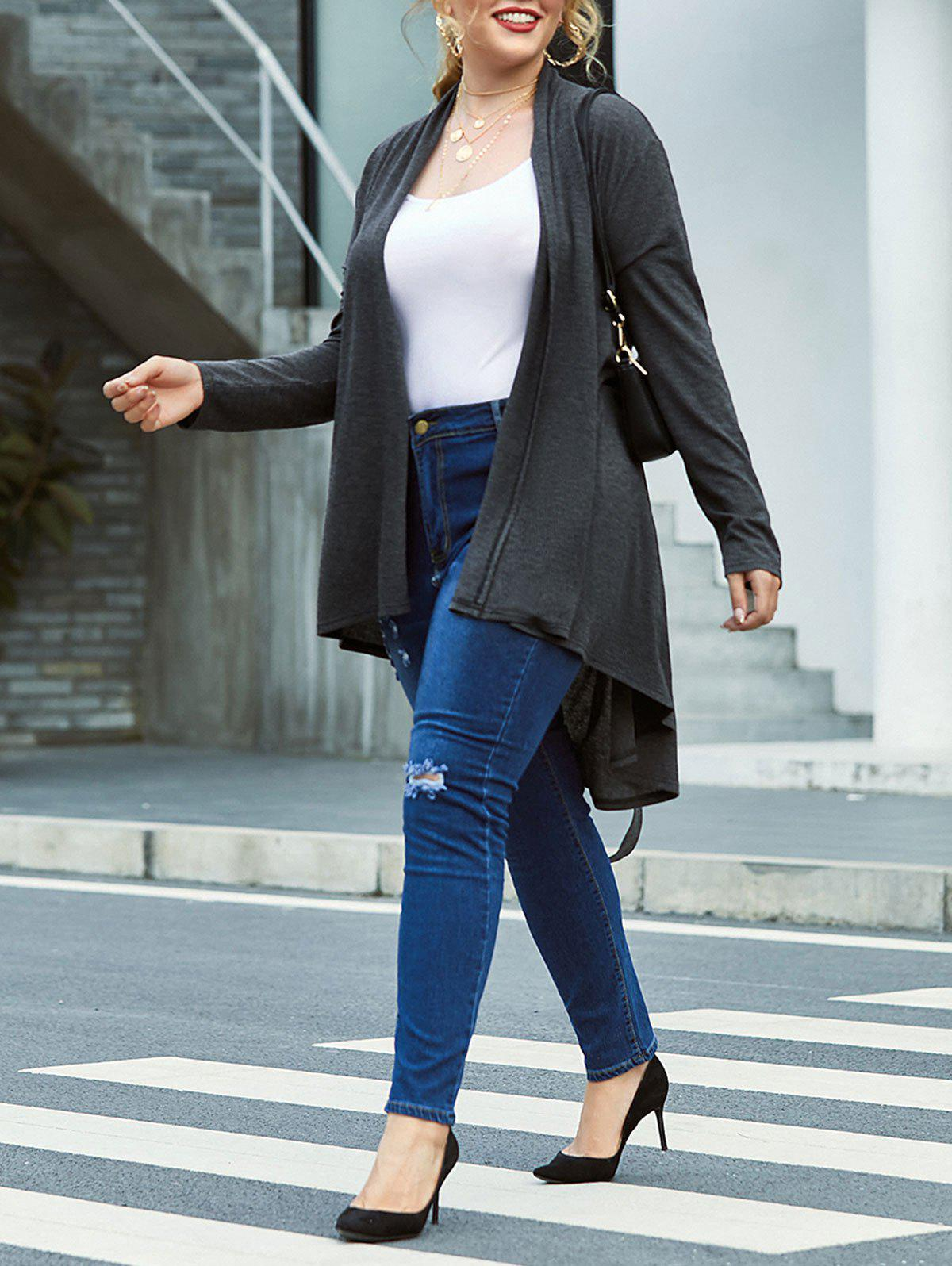 Online Plus Size Marled Collarless Belted Tunic Wrap Cardigan