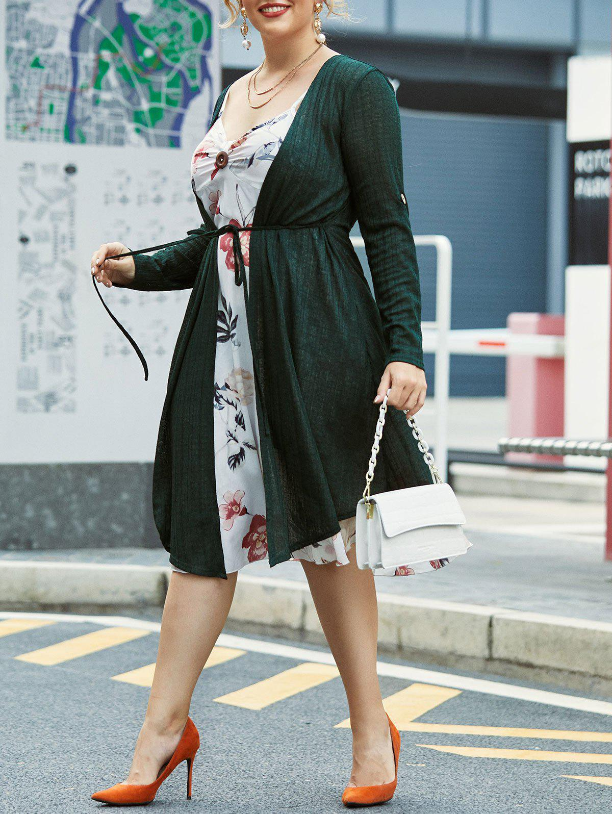 Outfits Plus Size Floral Cami Dress With Longline Cardigan