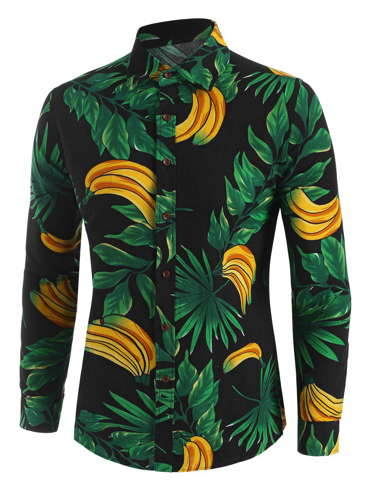 Discount Leaf Banana Print Button Up Leisure Shirt