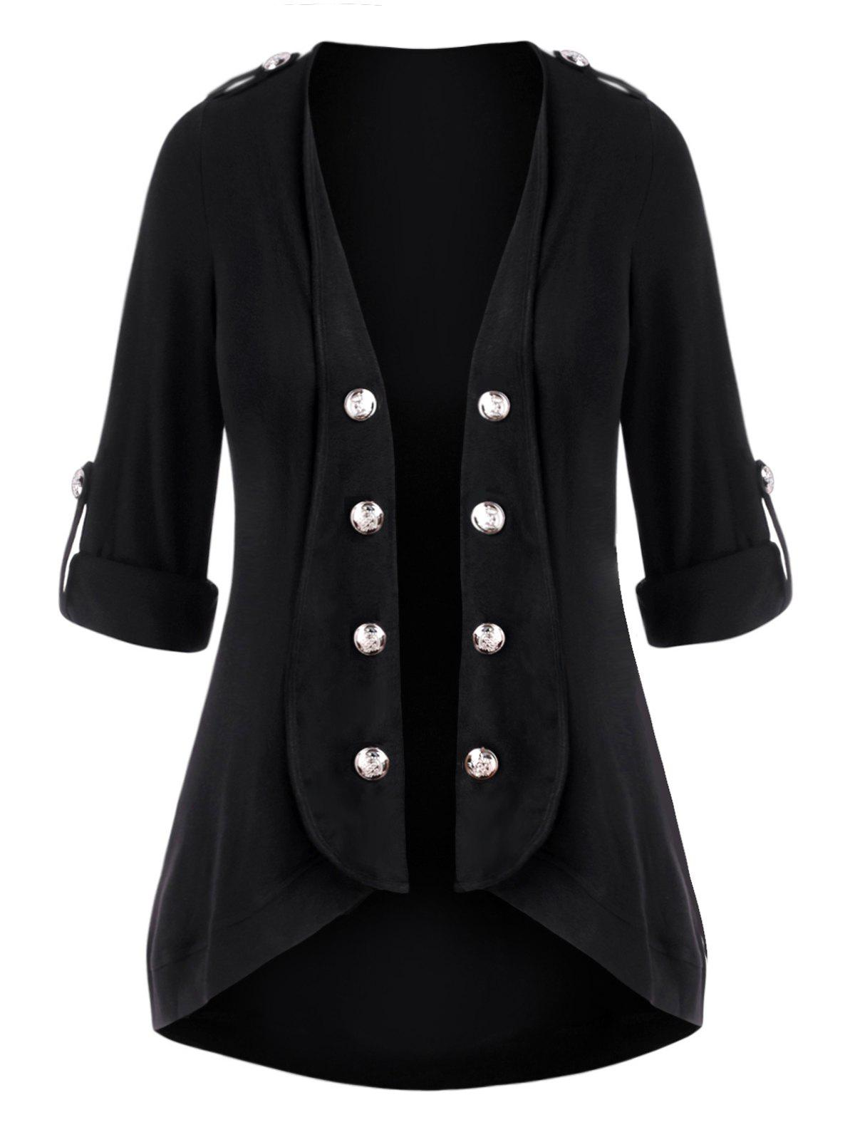 Unique Plus Size Open Front Roll Up Sleeve Mock Button Cardigan
