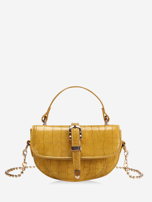 Unique Textured Small Chain Saddle Hand Bag