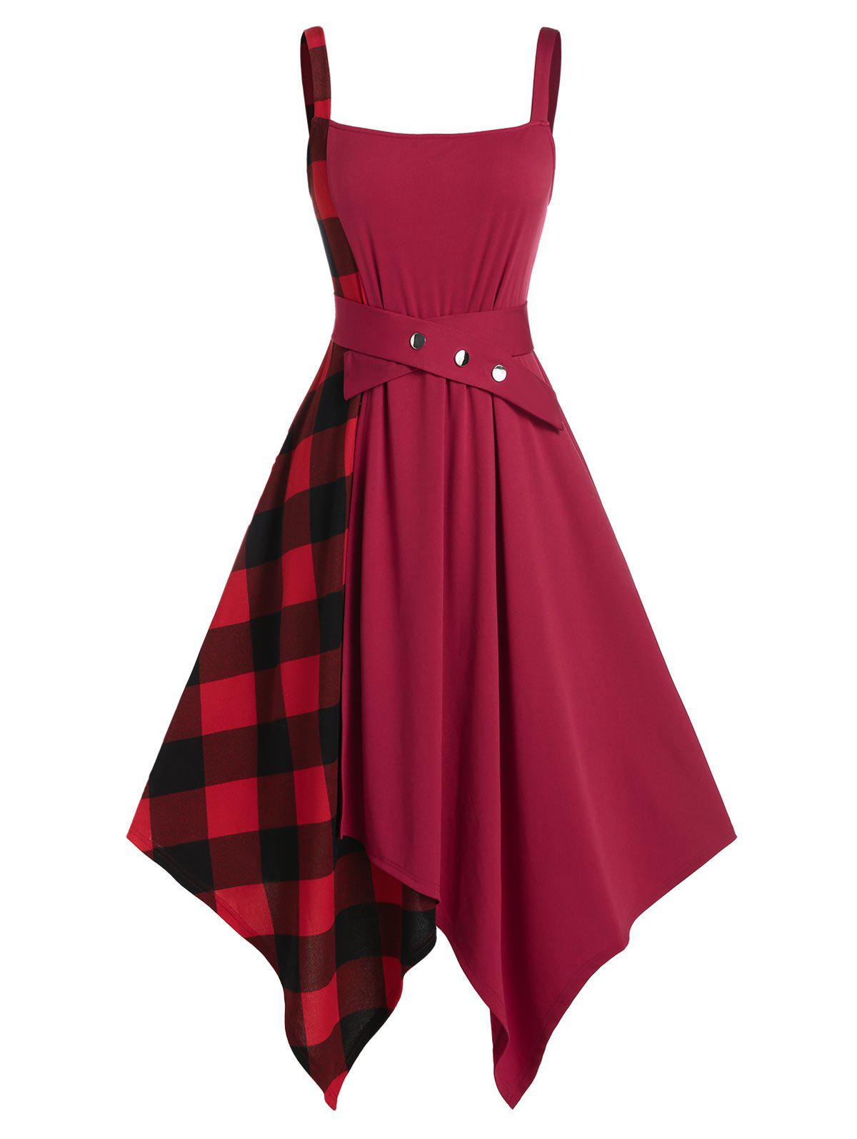 Shop Plus Size Plaid Handkerchief Belted High Rise Dress