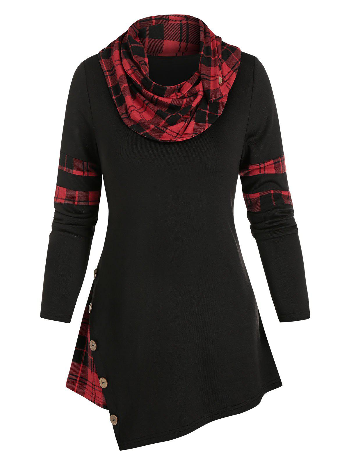 Affordable Mock Button Plaid Print Asymmetrical T-shirt
