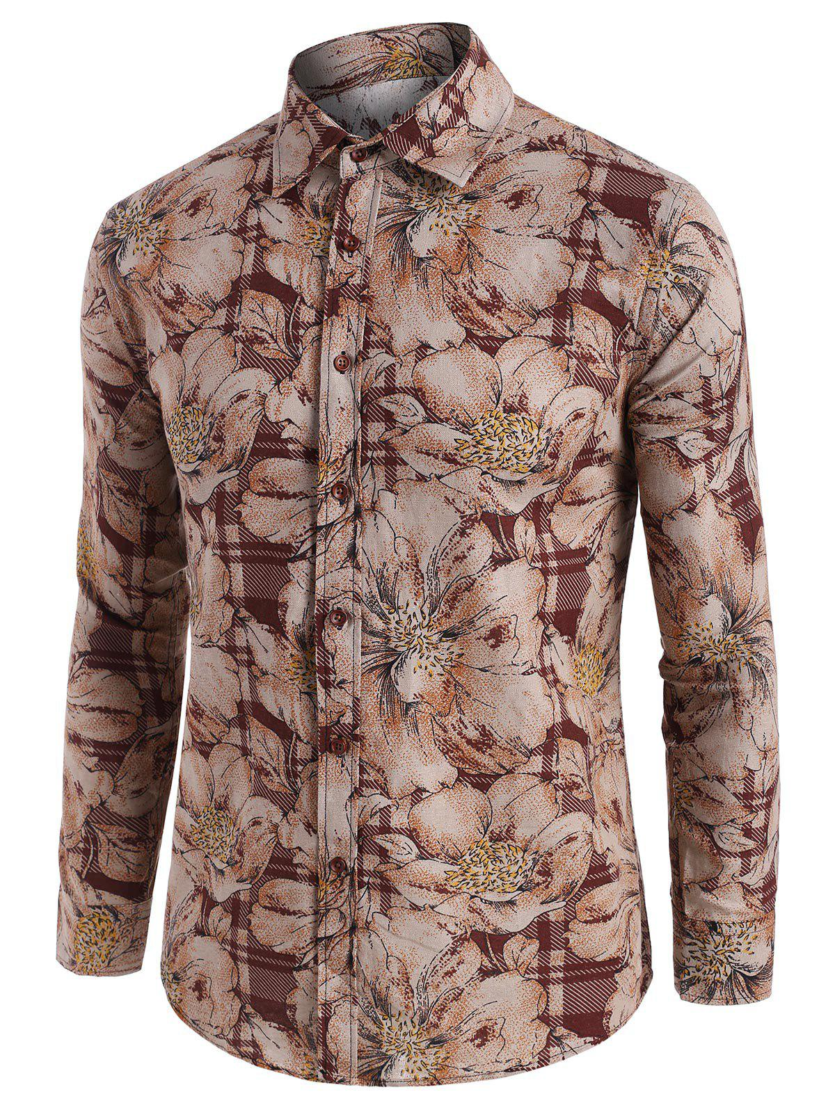 Hot Wildflower Print Vintage Long Sleeve Shirt