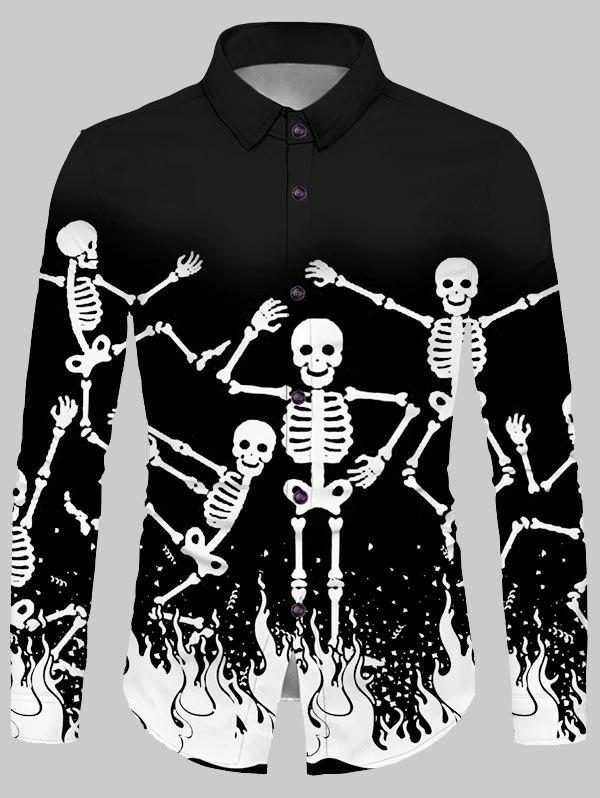 Cheap Halloween Skeleton Fire Print Button Up Shirt