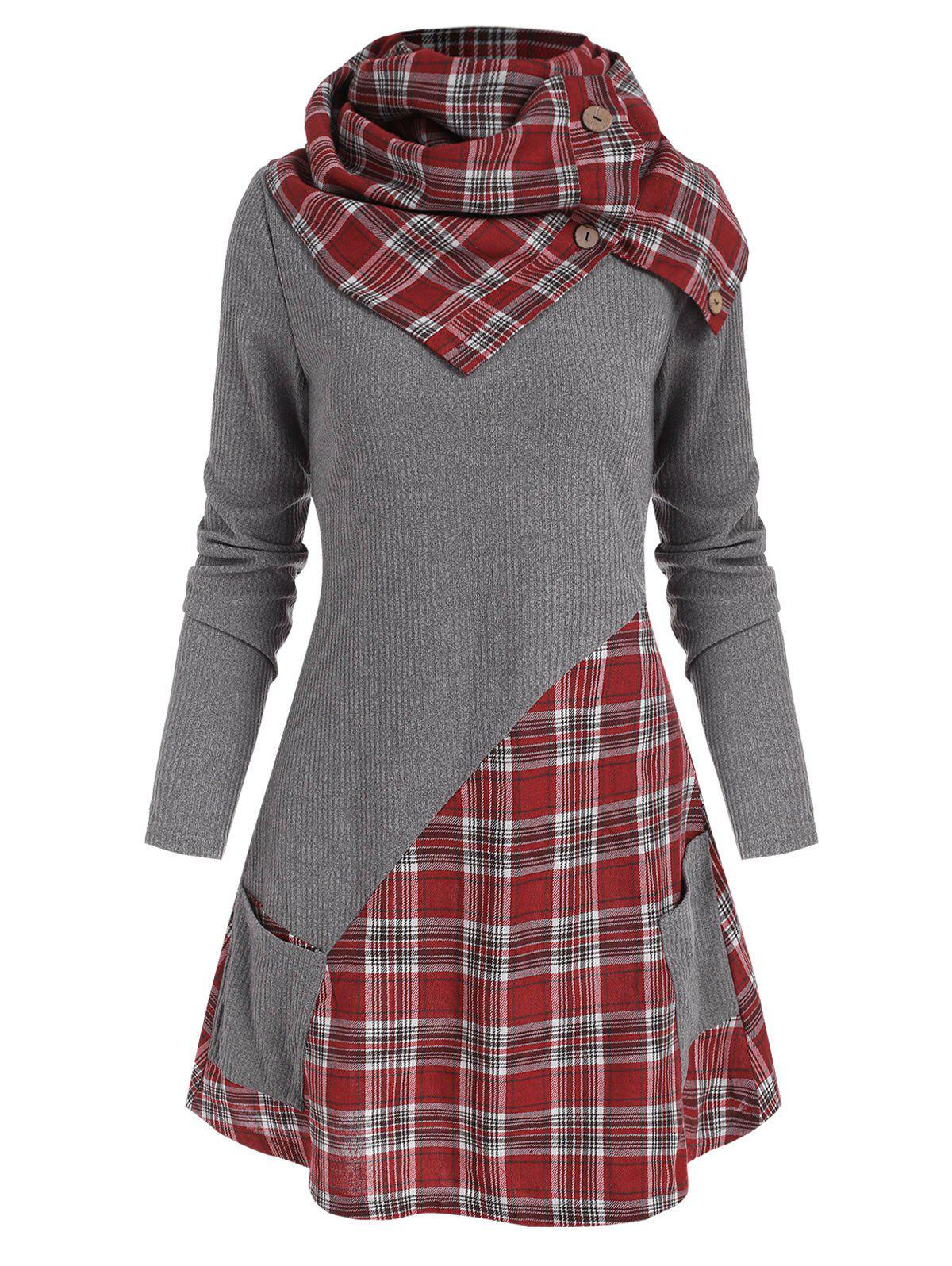Store Pocket Plaid Insert Knitwear with Button Scarf