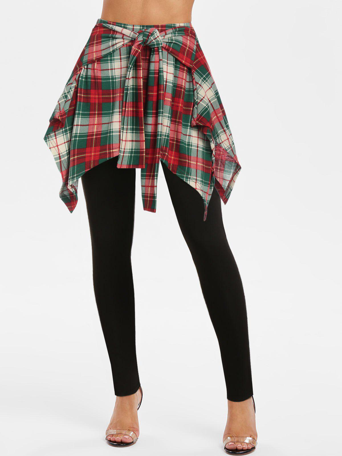 Trendy Tie Front Plaid Print Skirted Pants