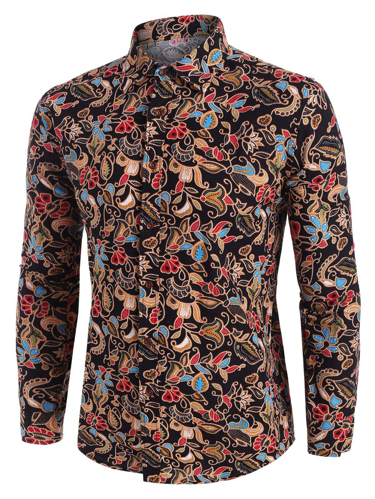 Buy Floral Print Ethnic Style Long Sleeve Shirt