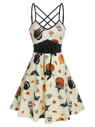 Front Strappy Halloween Printed Mini Cami Dress