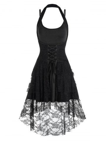 Lace-up Flower Lace Halter High Low Skirt and Plain Dress