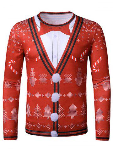 Christmas Candy Faux Suit Print Slim Leisure T Shirt - RED - M