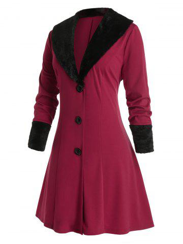 Plus Size Shawl Collar Faux Fur Single Breasted A Line Coat - RED WINE - 5X