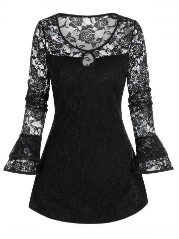 Gothic Flower Lace Keyhole Ruffle Cuff Top