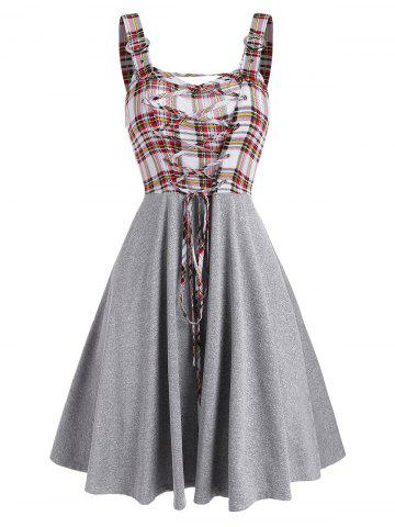 Sleeveless Plaid Print Lace-up Buckle Strap Dress