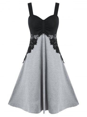 Contrast Color Ruched Lace Panel Cami Dress