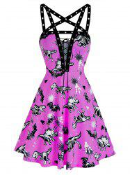 Animal Skeleton Print Lace Up Grommet Strap Cami Dress -