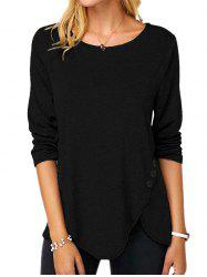 Buttoned Long Sleeve Slit Tee -