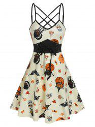 Front Strappy Halloween Printed Mini Cami Dress -