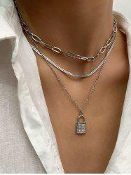 3 Piece Rhinestone Key Multilayered Chain Necklaces Set -