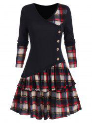 Plaid Panel Asymmetric Layers Flounce Dress -