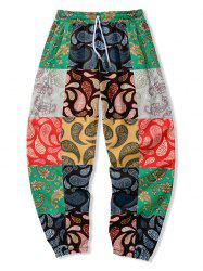 Paisley Floral Patch Beam Feet Pants -