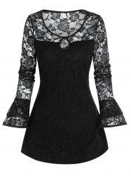 Gothic Flower Lace Keyhole Ruffle Cuff Top -