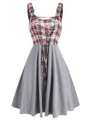 Sleeveless Plaid Print Lace-up Buckle Strap Dress -