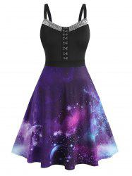 Plus Size Galaxy Sequined Hook and Eye A Line Dress -