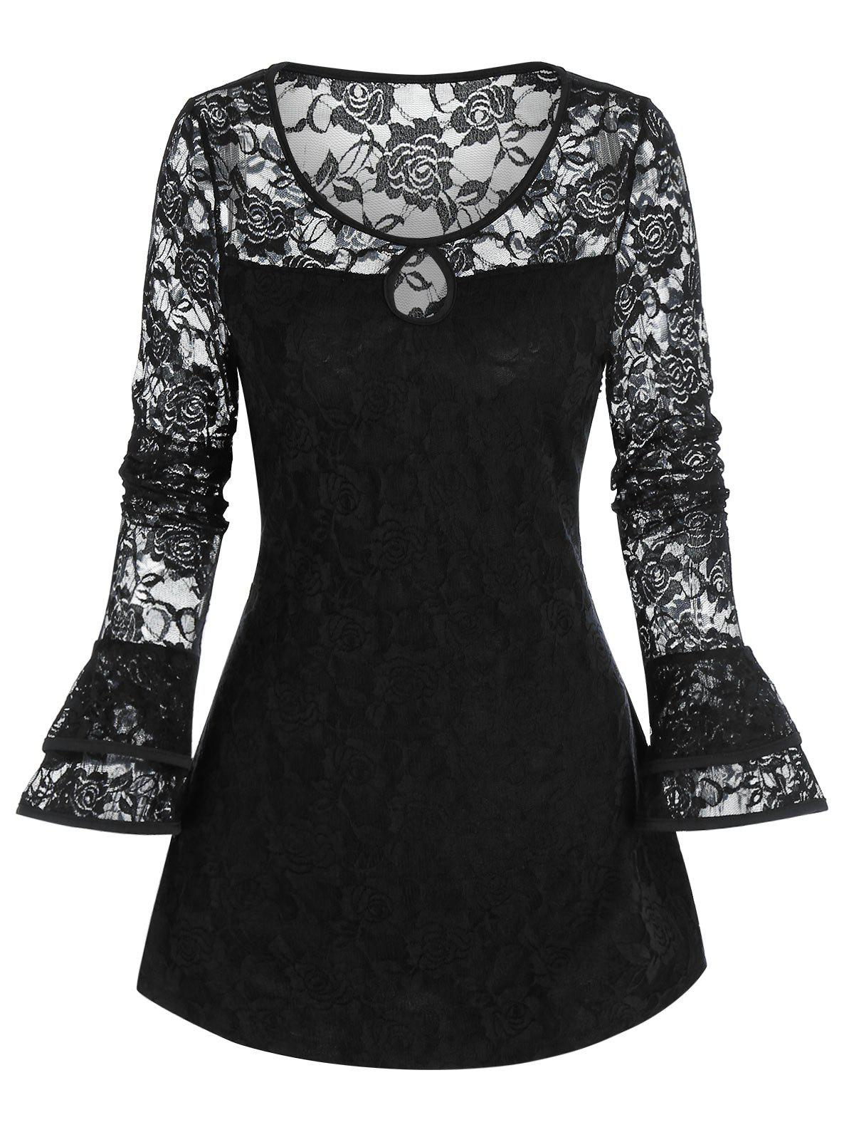 Hot Gothic Flower Lace Keyhole Ruffle Cuff Top