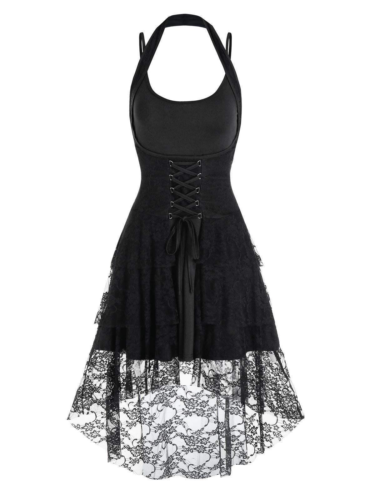 Store Lace-up Flower Lace Halter High Low Skirt and Plain Dress
