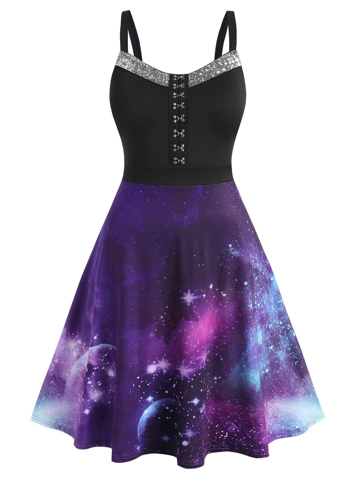 Buy Plus Size Galaxy Sequined Hook and Eye A Line Dress