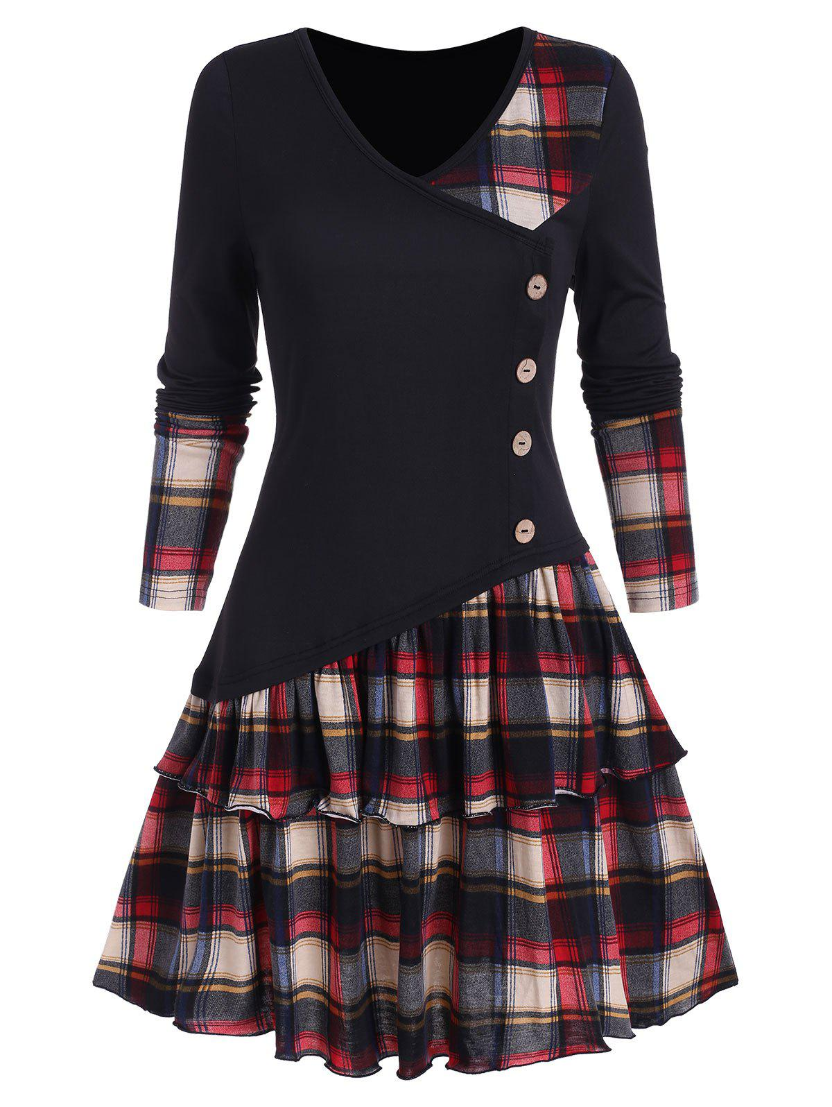 Hot Plaid Panel Asymmetric Layers Flounce Dress
