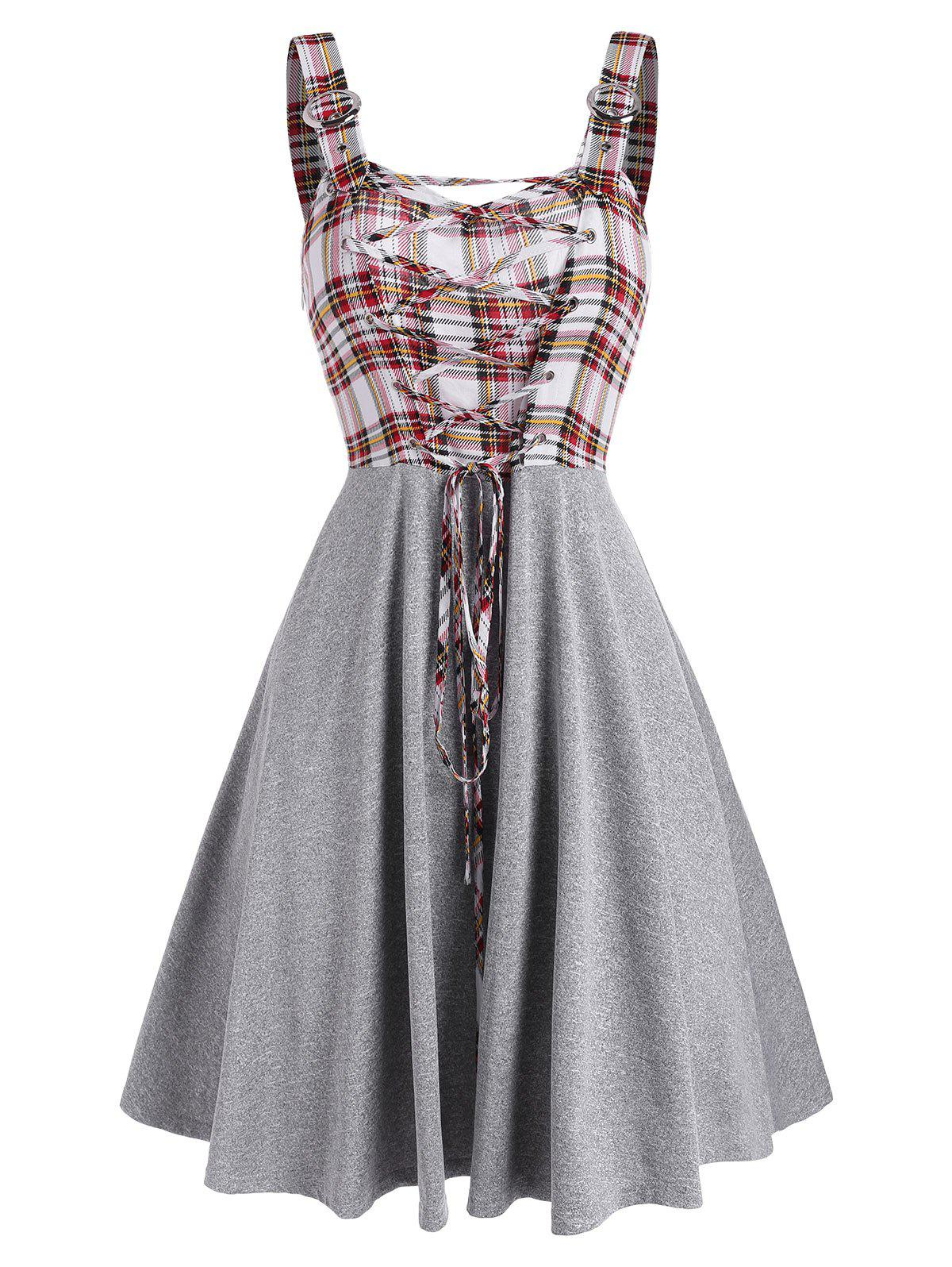 Store Sleeveless Plaid Print Lace-up Buckle Strap Dress