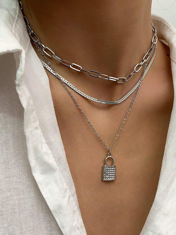 Sale 3 Piece Rhinestone Key Multilayered Chain Necklaces Set