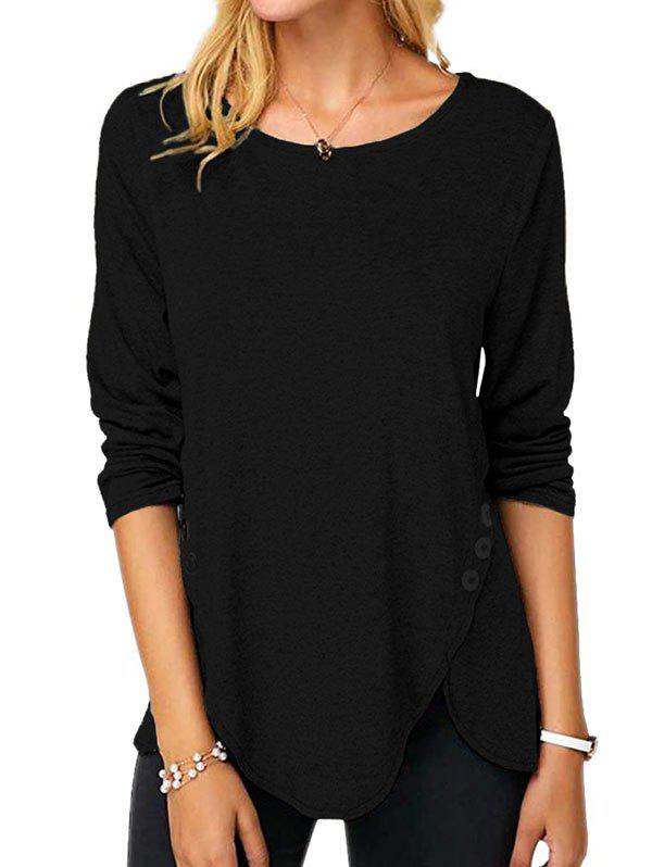Affordable Buttoned Long Sleeve Slit Tee