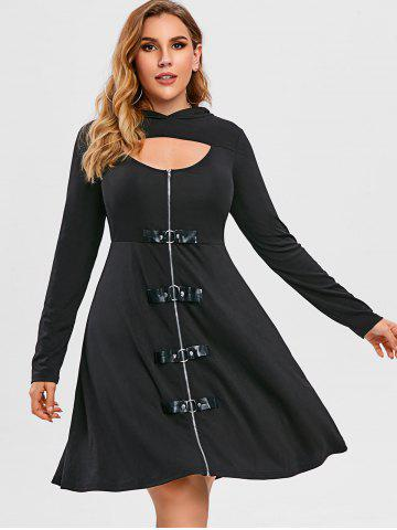 Plus Size A Line Long Sleeve Solid Gothic Dress