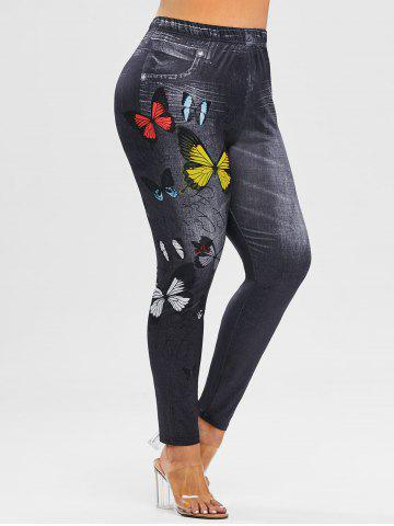 Plus Size 3D Butterfly Print High Waisted Jeggings