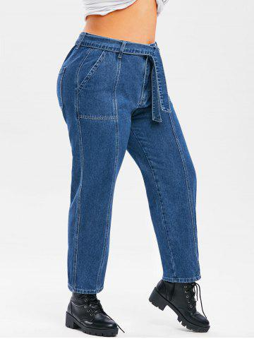 Plus Size Topstitching Belted Wide Leg Jeans