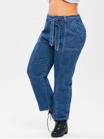 Plus Size Topstitching Belted Wide Leg Jeans - DEEP BLUE - 5X