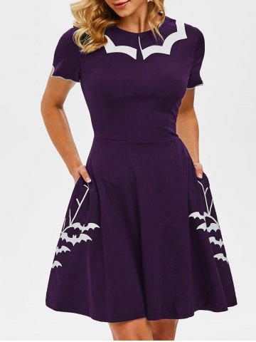 Flat Collar Halloween Bat Print Side Pocket Dress
