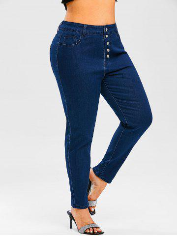 Plus Size Pintuck Button Fly Jeans - DEEP BLUE - 3X