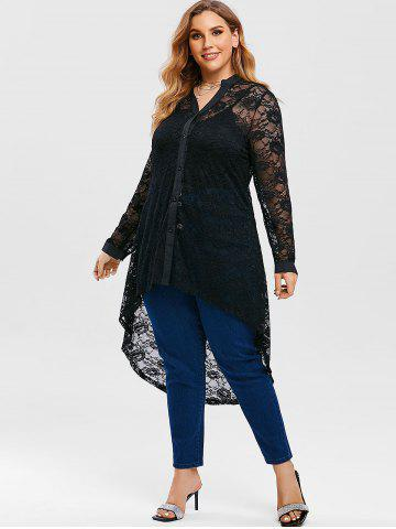 Plus Size Lace High Low Blouse with Long Camisole