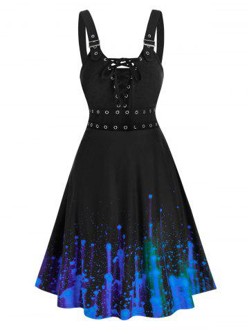 Splatter Paint Grommet High Waist Cami Dress