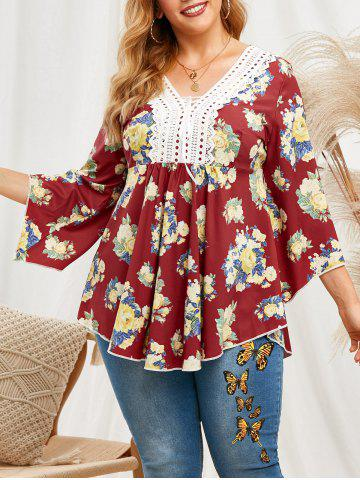 Lace Patched Floral Lace Up Flare Sleeve Plus Size Blouse - DEEP RED - 4X