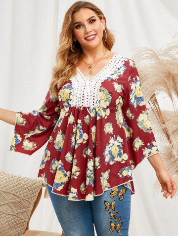 Lace Patched Floral Lace Up Flare Sleeve Plus Size Blouse