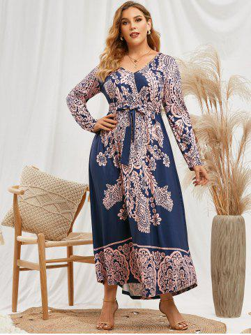 Plus Size Printed Belted Maxi Surplice Dress